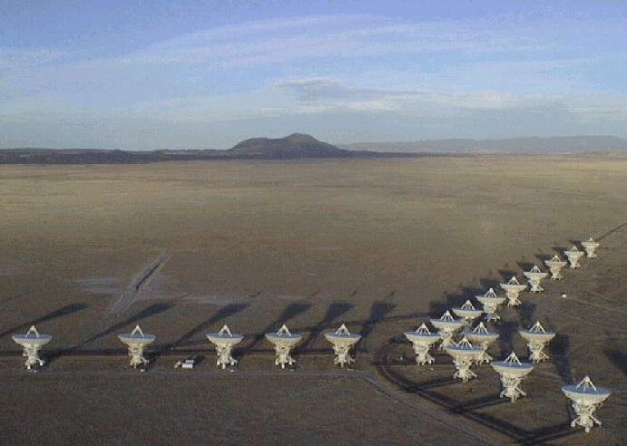 The Very Large Array (VLA) in Socorro, New Mexico. Photograph by Dave Finley, courtesy National Radio Astronomy Observatory and Associated Universities, Inc. Available: http://www.aoc.nrao.edu/intro/vlapix/vlaviews.index.html